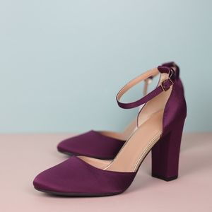 Shoes - Burgundy Satin Block Heel with Ankle Strap
